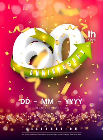 90 years anniversary invitation card - celebration template design , 90th anniversary modern design elements and confetti, bokeh pink purple background - vector illustration colorful invitation card. Ilustração