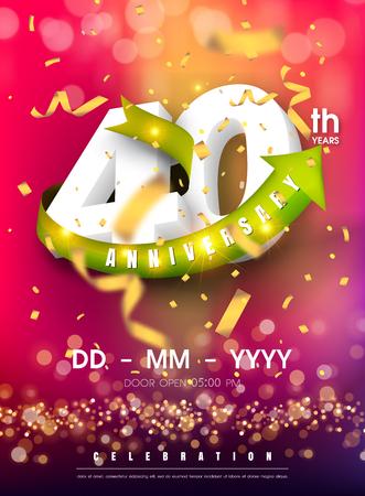 40 years anniversary invitation card - celebration template design , 40th anniversary modern design elements and confetti, bokeh pink purple background - vector illustration colorful invitation card.