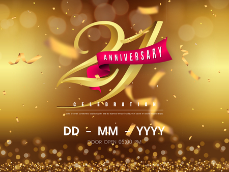 21 years anniversary logo template on gold background. 21st celebrating golden numbers with red ribbon vector and confetti isolated design elements Vettoriali