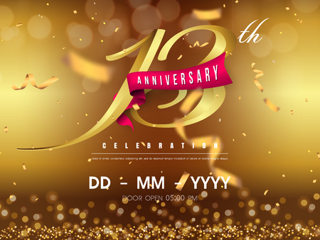 13 years anniversary logo template on gold background. 13th celebrating golden numbers with red ribbon vector and confetti isolated design elements Foto de archivo - 118534445