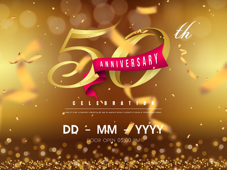 50 years anniversary logo template on gold background. 50th celebrating golden numbers with red ribbon vector and confetti isolated design elements Stock Illustratie