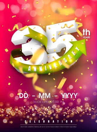35 years anniversary invitation card - celebration template design , 35th anniversary modern design elements and confetti, bokeh pink purple background - vector illustration colorful invitation card. Ilustração