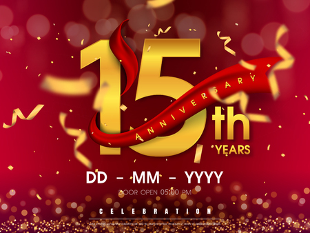 15 years anniversary logo template on gold background. 15th celebrating golden numbers with red ribbon vector and confetti isolated design elements Stock Vector - 118534488