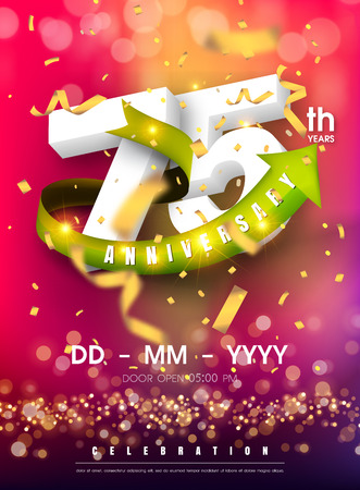 75 years anniversary invitation card - celebration template design , 75th anniversary modern design elements and confetti, bokeh pink purple background - vector illustration colorful invitation card.