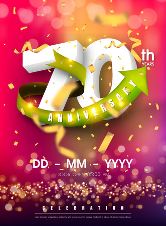 70 years anniversary invitation card - celebration template design , 70th anniversary modern design elements and confetti, bokeh pink purple background - vector illustration colorful invitation card.