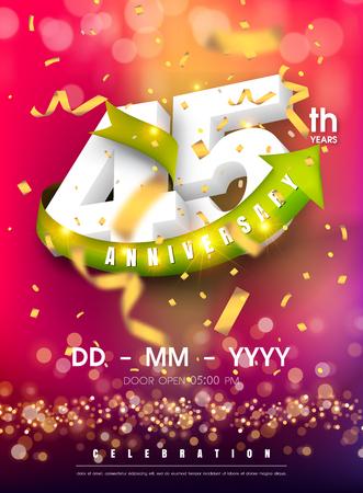 45 years anniversary invitation card - celebration template design , 45th anniversary modern design elements and confetti, bokeh pink purple background - vector illustration colorful invitation card.