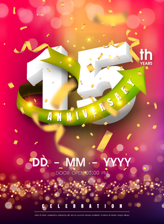 15 years anniversary invitation card - celebration template design , 15th anniversary modern design elements and confetti, bokeh pink purple background - vector illustration colorful invitation card.