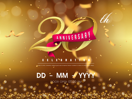 20 years anniversary logo template on gold background. 20th celebrating golden numbers with red ribbon vector and confetti isolated design elements