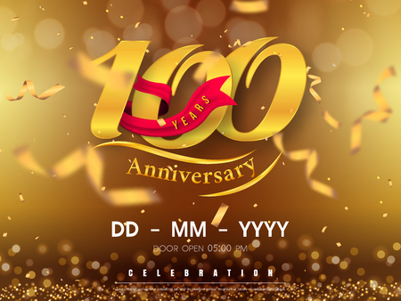 100 years anniversary logo template on gold background. 100th celebrating golden numbers with red ribbon vector and confetti isolated design elements