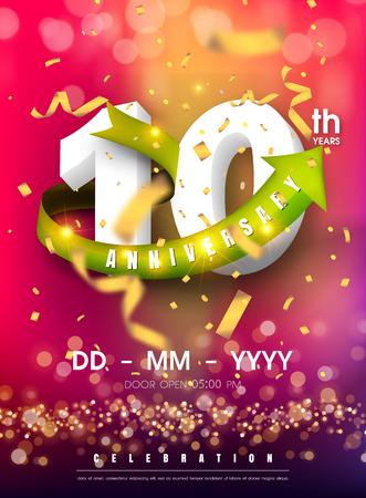 Carte d'invitation anniversaire 10 ans - conception de modèle de célébration, éléments de design moderne 10e anniversaire et confettis, fond violet rose bokeh - carte d'invitation colorée d'illustration vectorielle.