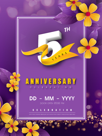 5 years anniversary logo template on golden flower and purple background. 5th celebrating white numbers with gold ribbon vector and bokeh design elements, anniversary invitation template card design