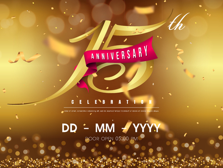 15 years anniversary logo template on gold background. 15th celebrating golden numbers with red ribbon vector and confetti isolated design elements Vettoriali