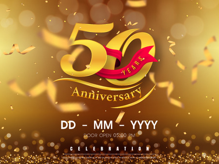 50 years anniversary logo template on gold background. 50th celebrating golden numbers with red ribbon vector and confetti isolated design elements 矢量图像