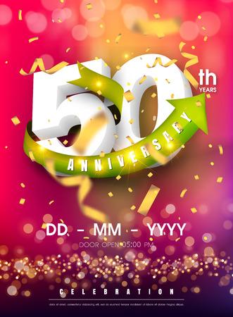 Carte d'invitation anniversaire 50 ans - conception de modèle de célébration, éléments de design moderne 50e anniversaire et confettis, fond violet rose bokeh - carte d'invitation colorée d'illustration vectorielle. Vecteurs