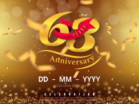 63 years anniversary template on gold background. 63rd celebrating golden numbers with red ribbon vector and confetti isolated design elements