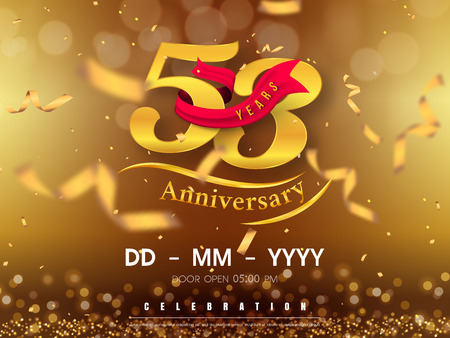 53 years anniversary  template on gold background. 53rd celebrating golden numbers with red ribbon vector and confetti isolated design elements