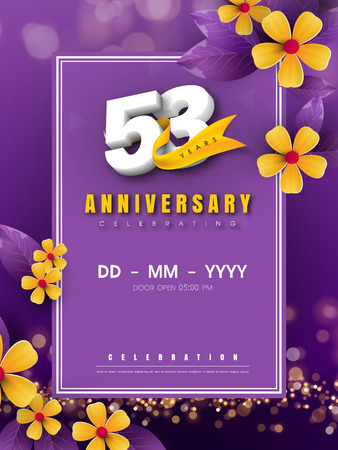 53 years anniversary template on golden flower and purple background. 53rd celebrating white numbers with gold ribbon vector and bokeh design elements, anniversary invitation template card design