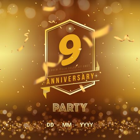 9 years anniversary template on gold background. 9th celebrating golden numbers with red ribbon vector and confetti isolated design elements