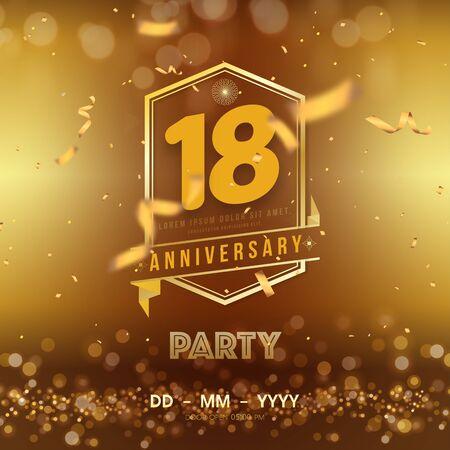 Plantilla de aniversario de 18 años sobre fondo dorado. 18 celebrando números dorados con vector de cinta roja y elementos de diseño aislados de confeti