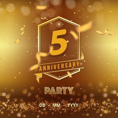 5 years anniversary template on gold background. 5th celebrating golden numbers with red ribbon vector and confetti isolated design elements