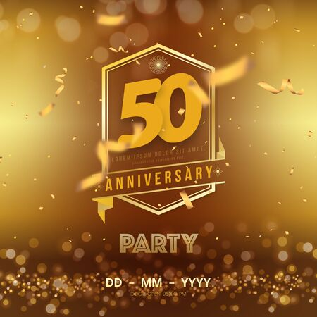 50 years anniversary  template on gold background. 50th celebrating golden numbers with red ribbon vector and confetti isolated design elements