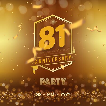 81 years anniversary template on gold background. 81st celebrating golden numbers with ribbon and confetti isolated design elements.