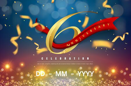 6 years anniversary logo template on gold and blue background. 6th celebrating golden numbers with red ribbon vector and confetti isolated design elements