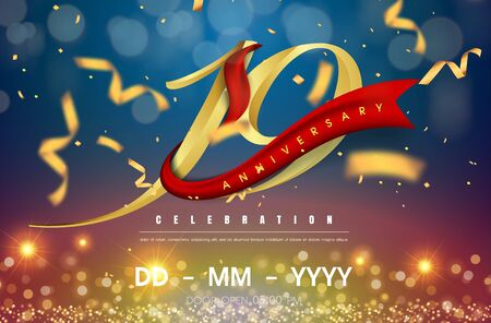 19 years anniversary logo template on gold and blue background. 19th celebrating golden numbers with red ribbon vector and confetti isolated design elements
