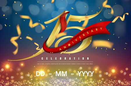 15 years anniversary logo template on gold and blue background. 15th celebrating golden numbers with red ribbon vector and confetti isolated design elements Illustration