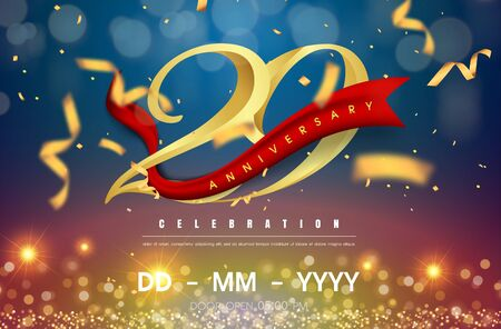 29 years anniversary logo template on gold and blue background. 29th celebrating golden numbers with red ribbon vector and confetti isolated design elements Illustration