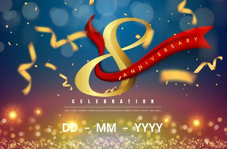 8 years anniversary logo template on gold and blue background. 8th celebrating golden numbers with red ribbon vector and confetti isolated design elements