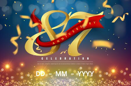 87 years anniversary logo template on gold and blue background. 87th celebrating golden numbers with red ribbon vector and confetti isolated design elements Illustration