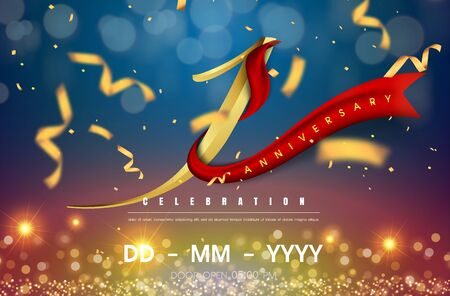 1 years anniversary logo template on gold and blue background. 1st celebrating golden numbers with red ribbon vector and confetti isolated design elements Illustration