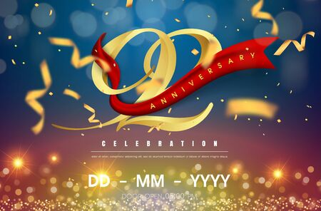 92 years anniversary logo template on gold and blue background. 92nd celebrating golden numbers with red ribbon vector and confetti isolated design elements