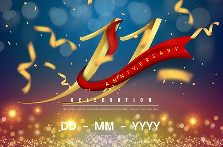 11 years anniversary logo template on gold and blue background. 11th celebrating golden numbers with red ribbon vector and confetti isolated design elements Illustration