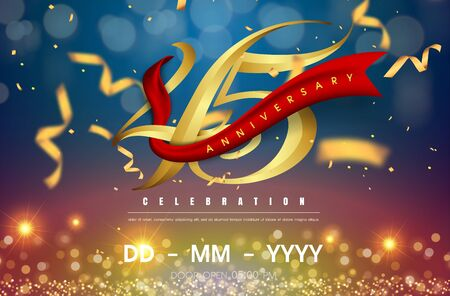 45 years anniversary logo template on gold and blue background. 45th celebrating golden numbers with red ribbon vector and confetti isolated design elements Illustration