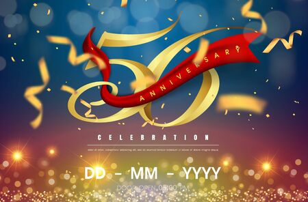 56 years anniversary logo template on gold and blue background. 56th celebrating golden numbers with red ribbon vector and confetti isolated design elements Illustration