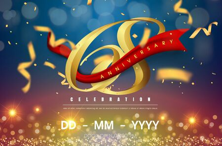 68 years anniversary logo template on gold and blue background. 68th celebrating golden numbers with red ribbon vector and confetti isolated design elements