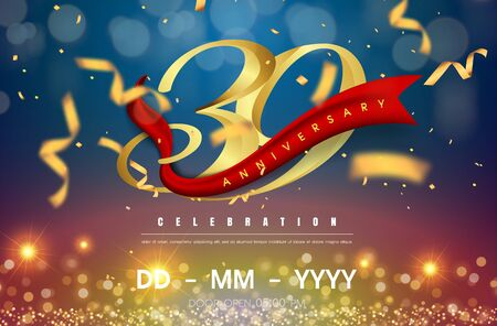 39 years anniversary logo template on gold and blue background. 39th celebrating golden numbers with red ribbon vector and confetti isolated design elements