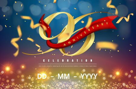 96 years anniversary logo template on gold and blue background. 96th celebrating golden numbers with red ribbon vector and confetti isolated design elements