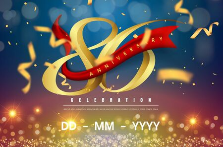 86 years anniversary logo template on gold and blue background. 86th celebrating golden numbers with red ribbon vector and confetti isolated design elements