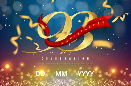 93 years anniversary logo template on gold and blue background. 93rd celebrating golden numbers with red ribbon vector and confetti isolated design elements