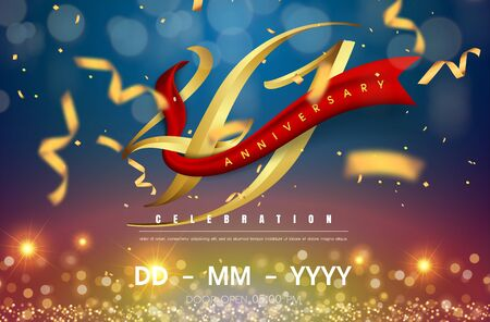 41 years anniversary logo template on gold and blue background. 41st celebrating golden numbers with red ribbon vector and confetti isolated design elements