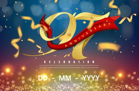 97 years anniversary logo template on gold and blue background. 97th celebrating golden numbers with red ribbon vector and confetti isolated design elements
