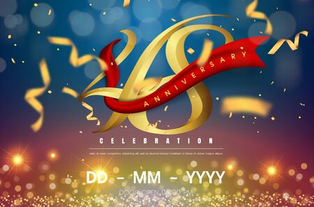 48 years anniversary logo template on gold and blue background. 48th celebrating golden numbers with red ribbon vector and confetti isolated design elements