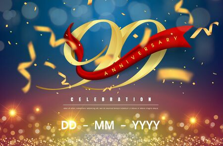 99 years anniversary logo template on gold and blue background. 99th celebrating golden numbers with red ribbon vector and confetti isolated design elements