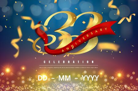 33 years anniversary logo template on gold and blue background. 33rd celebrating golden numbers with red ribbon vector and confetti isolated design elements