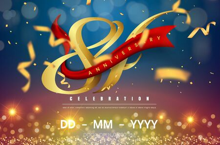 84 years anniversary logo template on gold and blue background. 84th celebrating golden numbers with red ribbon vector and confetti isolated design elements