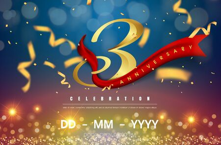 3 years anniversary logo template on gold and blue background. 3rd celebrating golden numbers with red ribbon vector and confetti isolated design elements