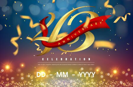 43 years anniversary logo template on gold and blue background. 43rd celebrating golden numbers with red ribbon vector and confetti isolated design elements Illustration
